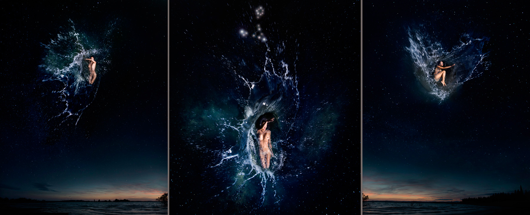 EUFONÍA de la Constelación de PISCIS. Fotografía digital nocturna y acuática. Configuración y retoque digitales