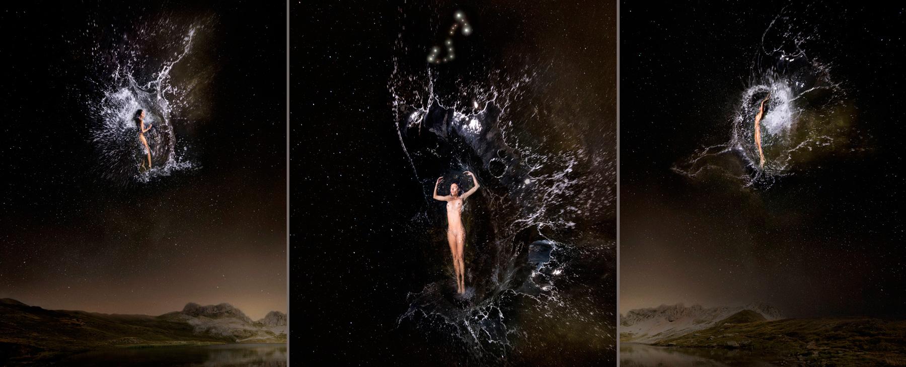 EUFONÍA de la Constelación de ESCORPIO. Fotografía digital nocturna y acuática. Configuración y retoque digitales